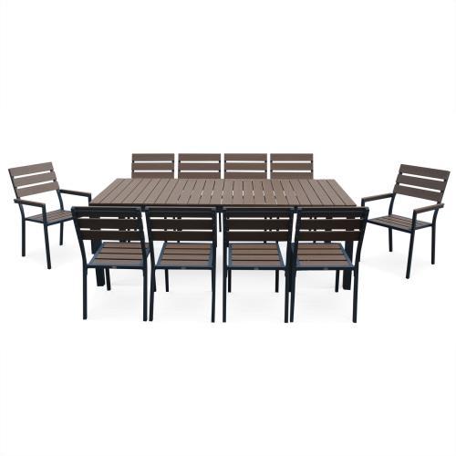 Salon de jardin MONACO en bois composite et aluminium, table 220cm ...