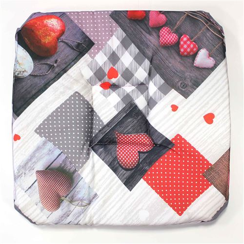 galette 4 rabats 36 x 36 x 3.5 cm polyester photoprint valentine