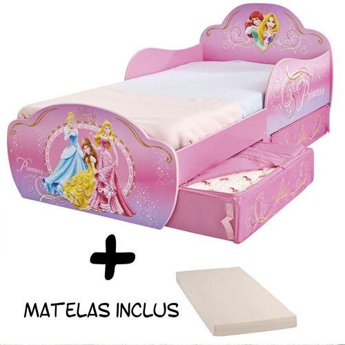 Lit enfant Princesse Disney Design avec tiroirs de rangement + Matelas
