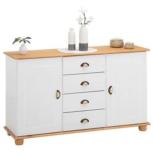 Buffet COLMAR commode bahut vaisselier meuble bas rangement avec 4 tiroirs au centre et 2 portes, en pin massif lasuré blanc et brun