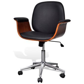 Fauteuil chaise siège de bureau luxe pivotant ergonomique avec accoudoir bois et noir