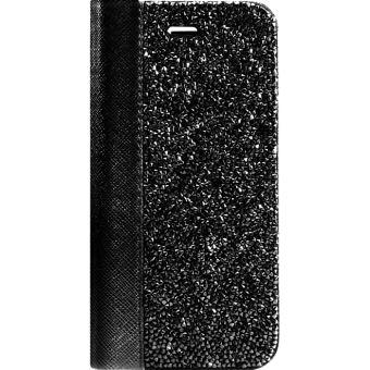 Coque Clapet Bling Strass pour Apple iPhone 6/6s/7/8, Minuit Noir - The Kase Paris