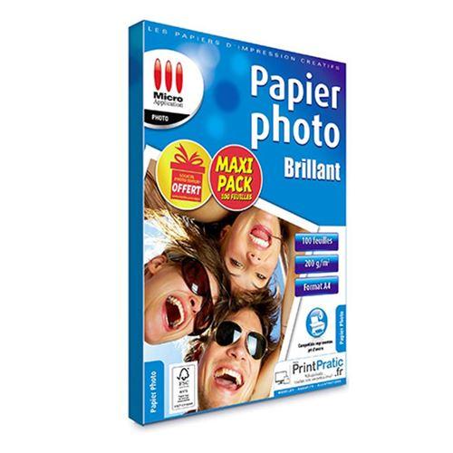 Pack de 100 papier photo brillant A4 Micro Application 5404 grammage 200g/m2