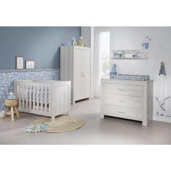 Chambre complète lit bébé 60x120 - commode à langer - armoire 2 portes Oslo  - Gris clair