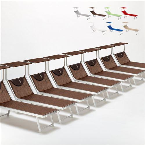 Bain de soleil chaises longue transats Lits de plage piscine aluminium jardin Santorini 20 pcs, Couleur: Marron