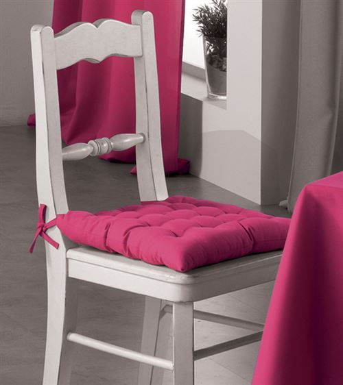 Assise matelassee 40 x 40 cm polyester uni essentiel Fuchsia