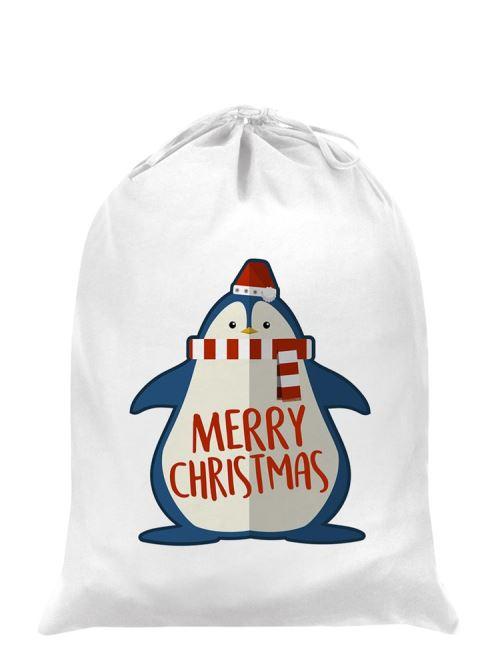 Sac de Père Noël Cute Christmas Penguin blanc