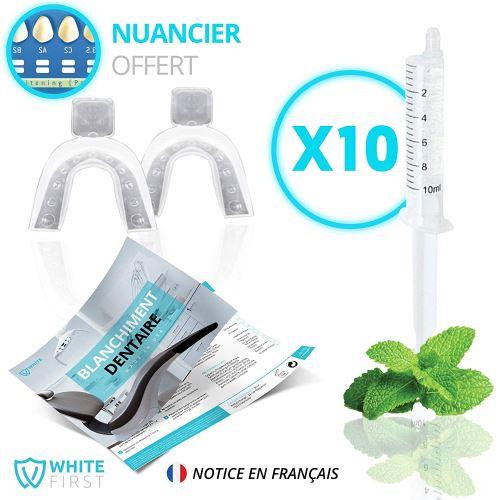 Kit blanchiment dents - 10 recharges gel blanchiments des dents parfum menthe fraîche - White First