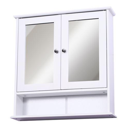 Armoire murale étagère salle de bain 56L x 13l x 58H cm double porte miroir étagère réglable MDF blanc