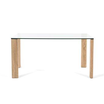 Table A Manger En Verre Avec Pied Bois L150cm Grays Achat