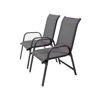 fauteuil jardin alu/textilène porto - phoenix - gris foncé - lot de 2