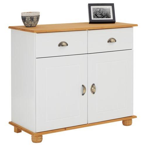 Buffet COLMAR commode bahut vaisselier meuble bas rangement avec 2 tiroirs et 2 portes, en pin massif lasuré blanc et brun