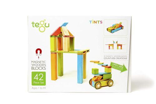 Tegu Jeu de Construction - Blocs de bois Magnétiques - 42 pièces - Couleurs