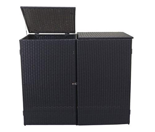 polyrotin 2x120l ~ noir Enveloppement pour 2 poubelles HWC-E25
