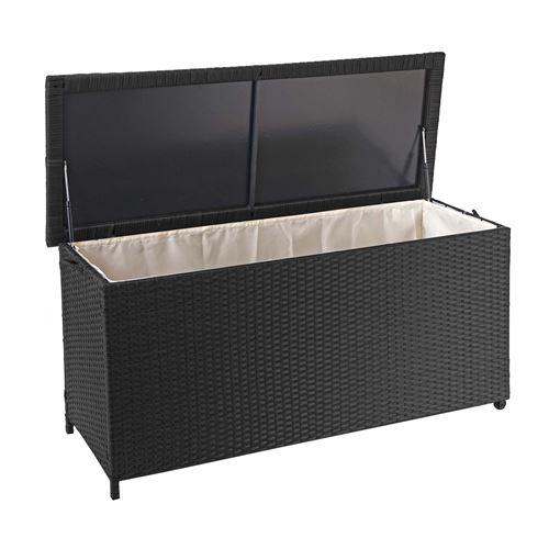 Coffre à coussins en polyrotin, HWC-D88, coffre jardin ~ Premium noir, 63x135x52 cm, 320l