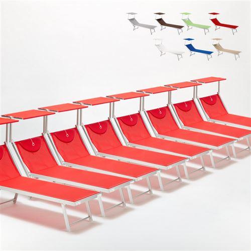 Bain de soleil chaises longue transats Lits de plage piscine aluminium jardin Santorini 20 pcs, Couleur: Rouge