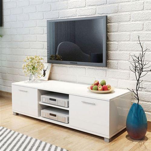 Meuble tv à haute brillance blanc 120 x 40,3 x 34,7 cm