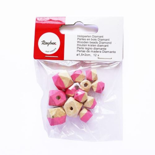 Perles en bois diamant - rose