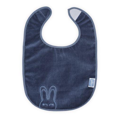 Bavoir plastifié velcro Sweet bunny - Bleu
