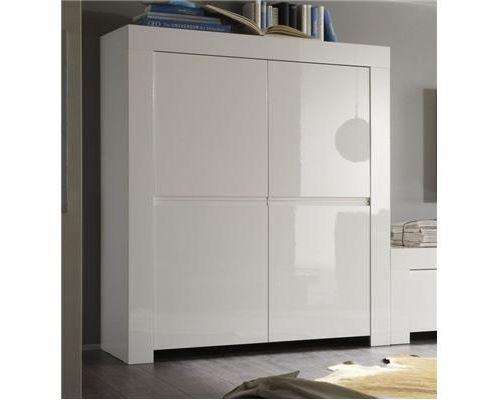 Buffet haut blanc laqué 4 portes design PAULA-L 120 x P 50 x H 140 cm- Blanc