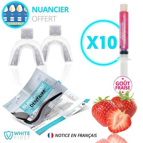 Kit blanchiment dents - 10 recharges gel blanchiments des dents parfum fraise - White First