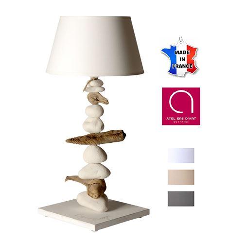 Lampe de chevet bord de mer en bois et galets - Personnalisable - Fabriqué à la main en France 50 cm - Blanc avec personnalisation - 24