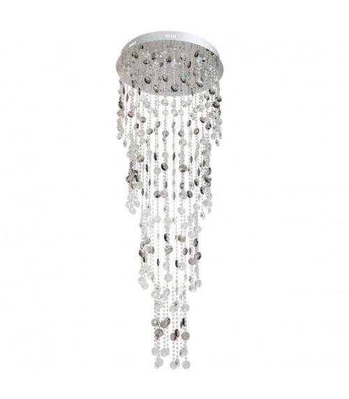 Plafonnier argenté Crystal 16 ampoules 180 Cm
