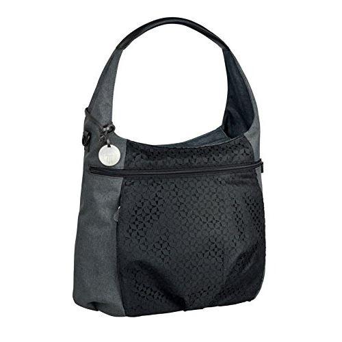 Lassig Casual Hobo Style Diaper Sac à bandoulière sac à main fourre-tout comprend un porte-bouteille isolé assorti, un matelas à langer essuyable, des crochets de poussette, noir