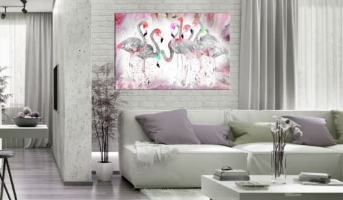 Tableau - Flamingoes Family .Taille : 90x60