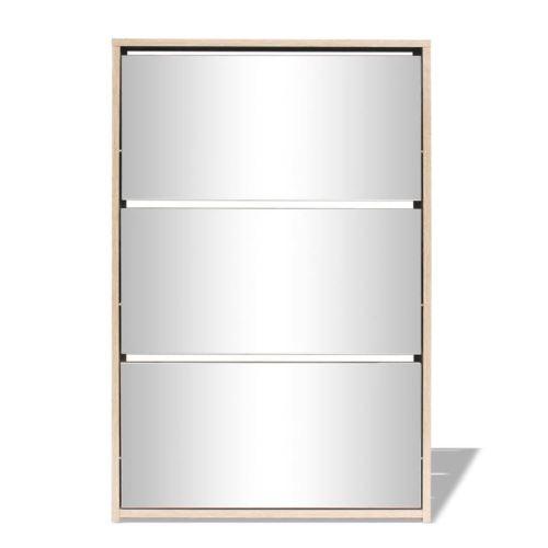Meuble à chaussures 3 étagères Miroir 63 x 17 x 102,5 cm
