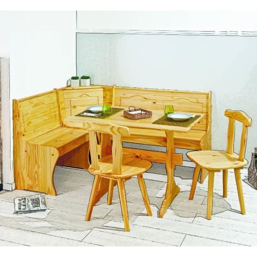 Coin De Repas Avec Table 2 Chaises Et Banc Pin Massif Vernis Naturel