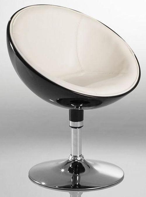 Fauteuil siège chaise design lounge pivotant noir/beige