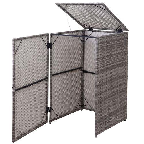 Enveloppement pour poubelle HWC-E25, box pour poubelles, revêtement, polyrotin 2x120l ~ gris