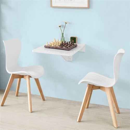 Sobuy Fwt04 W Table Murale Rabattable En Bois Bureau Enfant Table De Cuisine L45cm P70cm Blanc