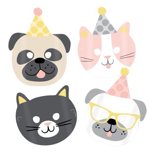 Amscan masques animaux domestiques 16,7 x 23,2 cm papier 8 pièces
