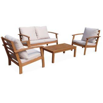 Salon de jardin en bois 4 places - Ushuaia - Coussins écrus ...