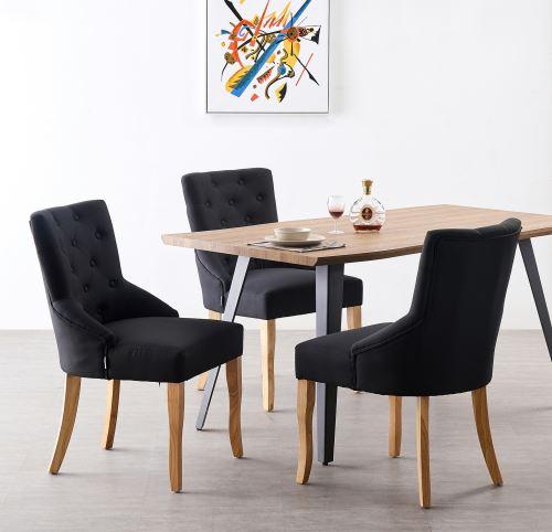 KENSINGTON Lot de 4 Chaises Capitonnées en Tissu Noir Pieds en Bois Design & Classique Salle à Manger, Salon ou Chambre