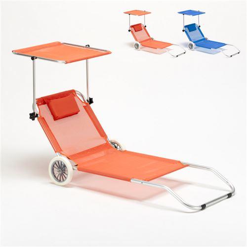 Lit de plage aluminium pliant bain de soleil transat roues pare soleil BANANA, Couleur: Orange