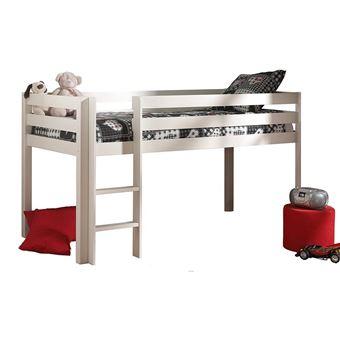 lit surlev en pin massif 90x200cm avec sommier pino blanc lit pour enfant achat prix fnac - Lit Sureleve
