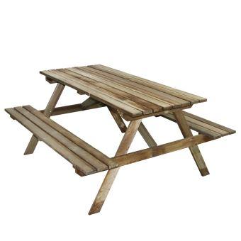 Table pique-nique en bois 4 places Marly recangulaire avec bancs