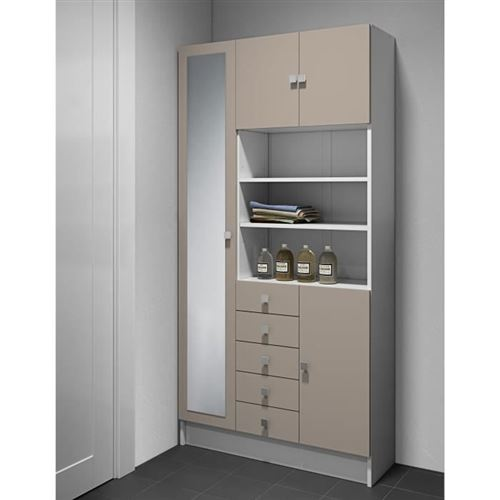 Armoire COMBI 90 X 182 : Temahome Blanc et Taupe