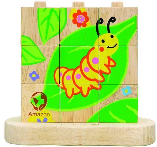 Everearth Bloc de bois pour puzzle de la chenille au papillon multicolore