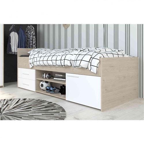 Lit 90x200 en bois blanc et chêne jackson - LT1036