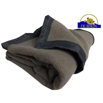 46€ sur Couverture pure laine woolmark ourson 350 gr gris 180x220