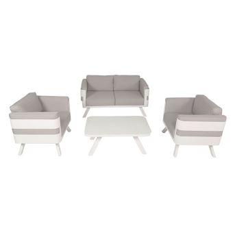 Salon de jardin en aluminium blanc coussins gris Carrare - Mobilier ...