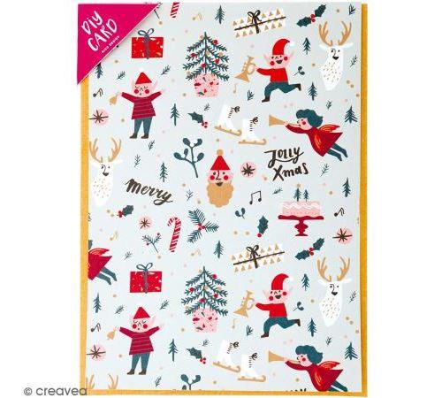 Kit carte à personnaliser - Rico Design Noël - Noël Classique - 12,5 x 17,5 cm