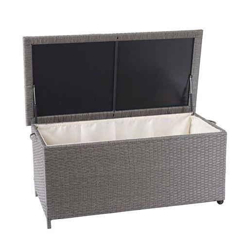 Coffre à coussins en polyrotin, HWC-D88, coffre jardin ~ Premium gris, 51x115x59 cm, 250l