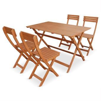 Table de jardin bois bistrot pliable Léon 120x70cm - Alice\'s ...