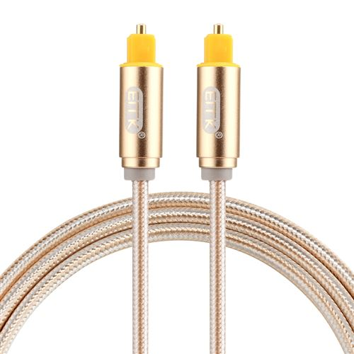 (#26) EMK 1m OD4.0mm Gold Plated Metal Head Woven Line Toslink Male to Male Digital Optical Audio Ca