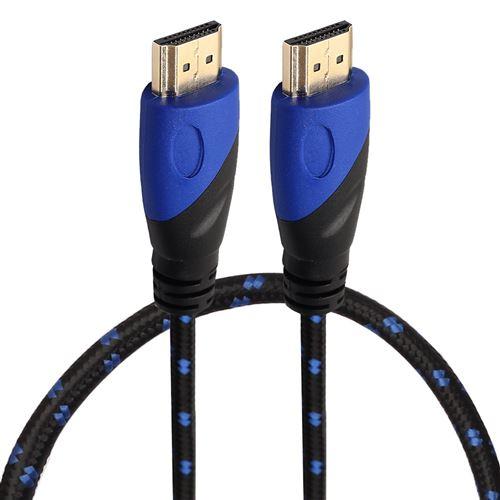 (#23) 0.5m HDMI 1.4 Version 1080P Nylon Woven Line Blue Black Head HDMI Male to HDMI Male Audio Vide